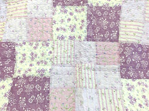 Cozy Line Home Fashions Love of Lilac Bedding Quilt Set, Light Purple Orchid Lavender Chic Lace Floral 100% Cotton Reversible Coverlet, Bedspread, Gifts for Girls Women (Lilac, King - 3 piece) by Cozy Line Home Fashions (Image #1)