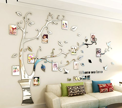 - ViviLinen 3D Wall Stickers in Acrylic Tree of Life DIY Crystal Wall Decal Photo Frames Home Decor Art (Left to Right)