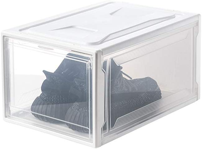 JAY-LONG Paquete De 3 Cajas De Zapatos Transparentes con Tapas, Caja Organizadora De Plástico Plegable, Caja De Almacenamiento Apilable, Adecuada para Zapatillas De Deporte, Ropa De Juguete,Blanco: Amazon.es: Hogar