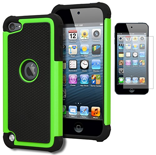 iPod Touch 5 & 6 Case, Bastex Heavy Duty Hybrid Protective Case - Soft Black Silicone Cover with Black and Green [Shock] Design Case for Apple iPod Touch 5 & 6 [Compatible with iPod Touch 6]