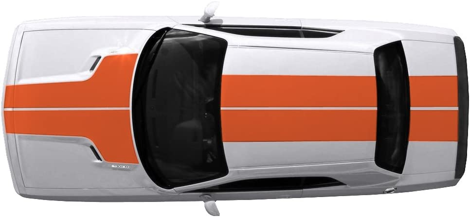 Factory Crafts T-Hood Roof /& Trunk Stripes Graphics Kit 3M Vinyl Decal Wrap Compatible with Dodge Challenger 2008-2013 Bright Orange