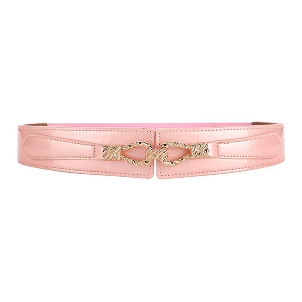 Leather, wide belt, women's dress, coat, waist, lacquer, elastic, elastic belt,Pink,60-80cm