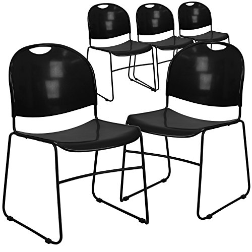 Flash Furniture 5 Pk. HERCULES Series 880 lb. Capacity Black Ultra Compact Stack Chair with Black Frame