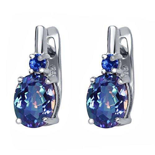(Gem Stone King 4.76 Ct Millennium Blue Mystic Quartz Blue Sapphire 925 Sterling Silver Earrings)