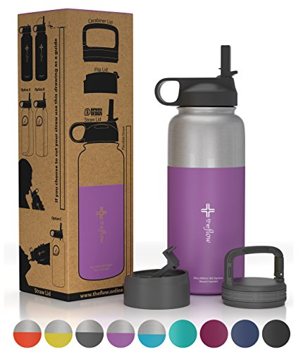 the flow Stainless Steel Water Bottle Double Walled/Vacuum Insulated - BPA/Toxin Free – Wide Mouth with Straw Lid, Carabiner Lid and Flip Lid, 32 oz.(1 Liter) (Stainless Purple, 32oz)