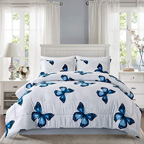 ARTALL Lightweight Microfiber 3 Piece Comforter Set with 2 Shams, Butterfly Pattern Bedding Set, King, Blue