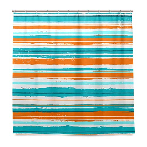 (Dongingp Watercolor Orange Turquoise Stripe Polyester Fabric Shower Curtain Sets with Hooks Waterproof Mildew Bathroom Decor)