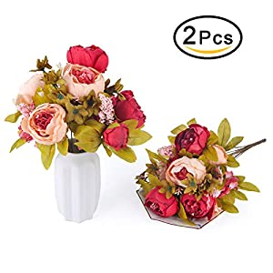 Bomarolan Fake Flowers Vintage Artificial Peony Bouquet Silk Wedding Flower, Pack of 2 Home Party Festival Decoration(Dark Pink) 100