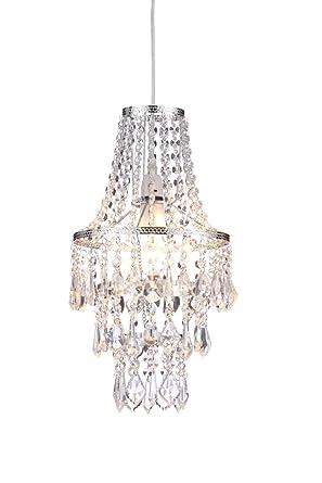 Lámpara de la marca ILLUMINATE, efecto cascada de cristal, colgante del techo, en cromado y cristal