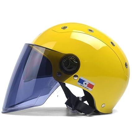 HJL Casco de la Motocicleta eléctrica Hombres y Mujeres Verano Casco Medio portátil Doble Lente Protección