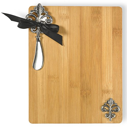 Fleur De Lis Spreader - Celebrate the Home Gift Boxed Bamboo Cutting Board and Spreader, Fleur De Lis, 2-Piece Set