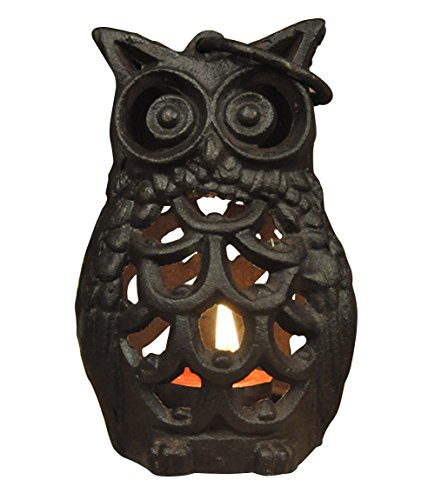 Multii Hollow-out Owl Cast Iron Candle Holder Hanging -
