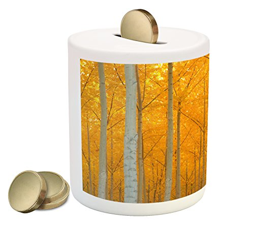 Fall Piggy Bank By Lunarable  Mystical Autumn Forest With Pale Leaves Flourishing North West Woodland View  Printed Ceramic Coin Bank Money Box For Cash Saving  Yellow And Grey
