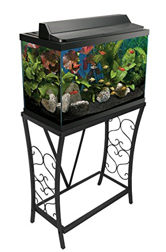 Aquatic Fundamentals AMZ-102201 Aquarium Stand, 20 Gallon, Black (20 Gallon Long Fish Tank)
