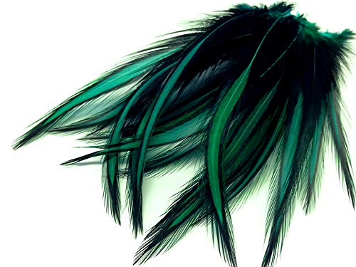 10 Pieces - Peacock Green Laced Long Rooster Cape Feathers Fly Tying Whiting BLW Rooster Saddle | Moonlight -