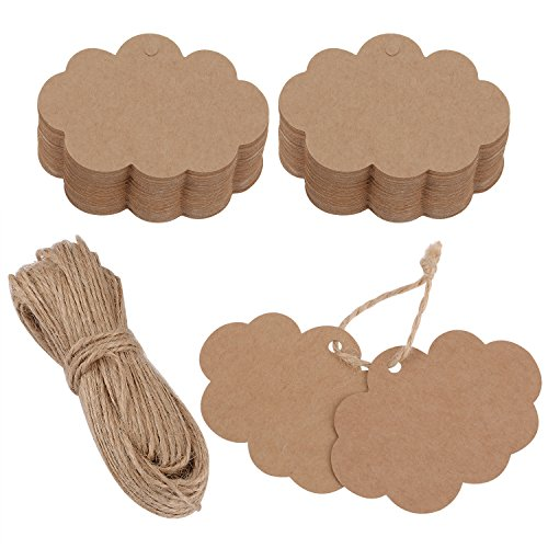 eBoot 100 Pack Crafts Paper Tags Kraft Gift Tags Cloud Shape Hang Labels with 30 Meters Natural Twine (Brown)