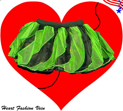 Green Black Sequins Twister Two Tone Tutu Skirt Halloween Pumkin