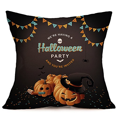 HomeMals Happy Pumpkin Spice Thanksgiving Throw Pillow Cover Cushion Case Cotton Linen Autumn Fall Halloween Home Decor]()