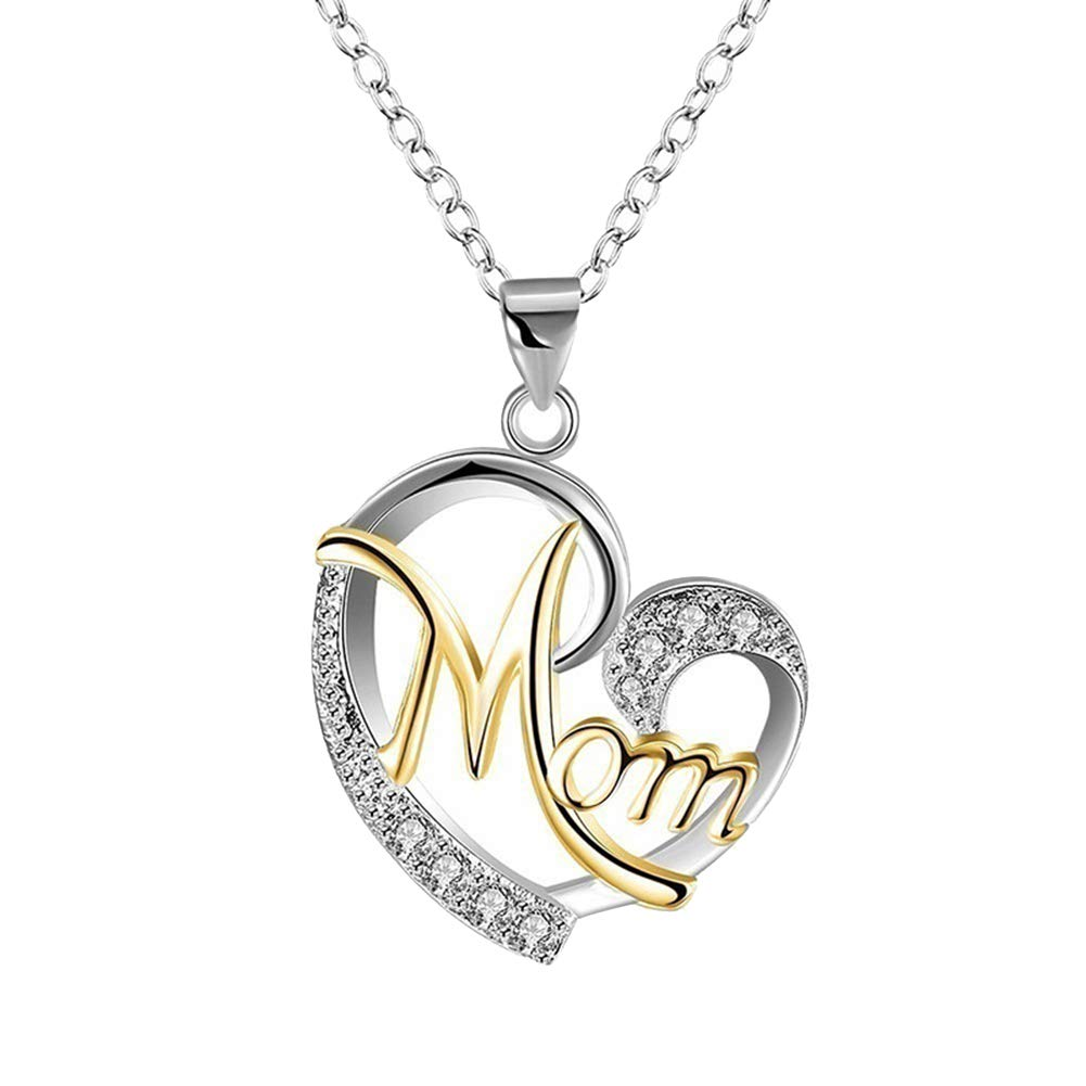 Finance Plan- English Letter Mom Hollow Heart Pendant Chain Necklace Jewelry