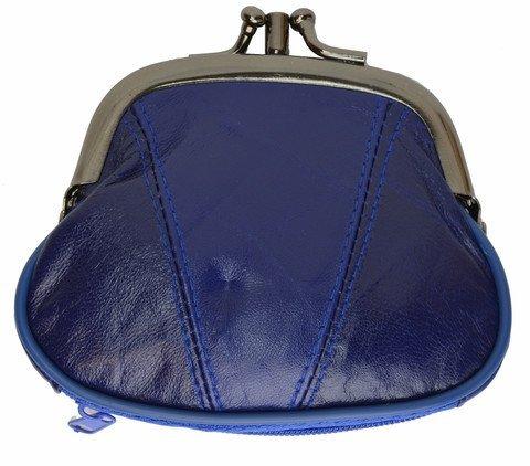 Lock Coin Purse - Marshal Womens Leather Kiss Lock Coin Purse (Blue)