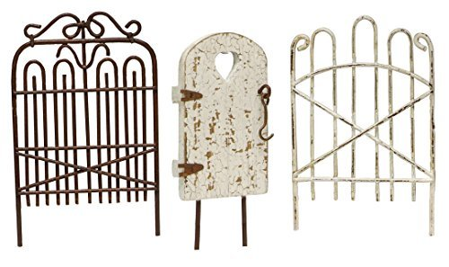 Vintage Style Tiny Fairy Garden Gates Metal and Wood Figurine Set of 3 20617 New