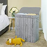 SONGMICS Divided Bamboo Laundry Basket Double