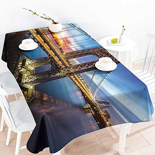 - Homrkey Elegance Engineered Tablecloth Apartment Decor Collection George Washington Bridge Connecting NJ to Manhattan NY Sunlights Clear Sky Image Blue Bright Gold Soft and Smooth Surface W50 xL80
