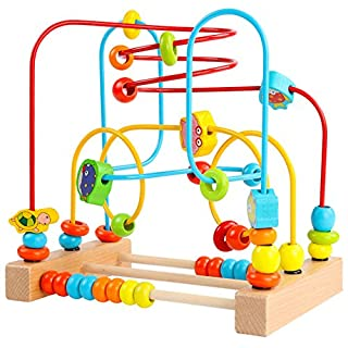 Timy First Bead Maze Roller Coaster Wooden Educational Circle Toy for Toddlers