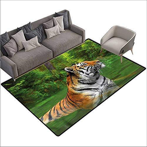 Office Chair Floor Mat Foot Pad Tiger,Siberian Wild Cat in Lake 80