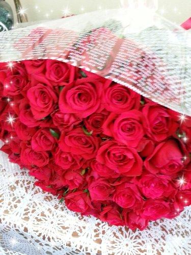 春ぼうし 赤バラ60本の花束 還暦祝い 誕生日のお祝い 結婚記念日のお祝い 敬老の日のお祝い バレンタインデー 記念日のプレゼント B00I9YMMXC