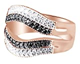 Black Natural Diamond Solitaire Ring Jacket Band Ring In 10k Rose Gold (0.55 Cttw) Ring Size-6