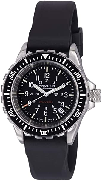 Marathon Watch WW194007 Tsar Swiss Made Military Issue Milspec Diver's Quartz Watch with Tritium Illumination and Sapphire Crystal (41 mm) Available