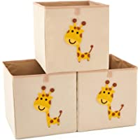 EZOWare Set of 3 Foldable Fabric Basket Bin, Collapsible Storage Cube for Nursery Home, Kids and Toddlers (32x37x32cm, Giraffe)