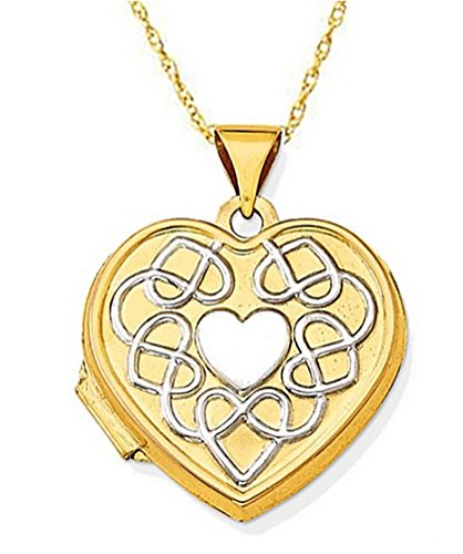 Rhodium Plate 14k Yellow Gold Filligree Heart Reversible Locket Necklace, 20'' by The Men's Jewelry Store (for HER)