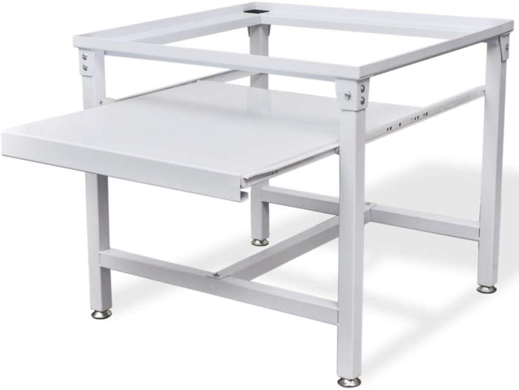 vidaXL Pedestal para Lavadora con Estante Blanco Acero 100 kg Soporte Elevador