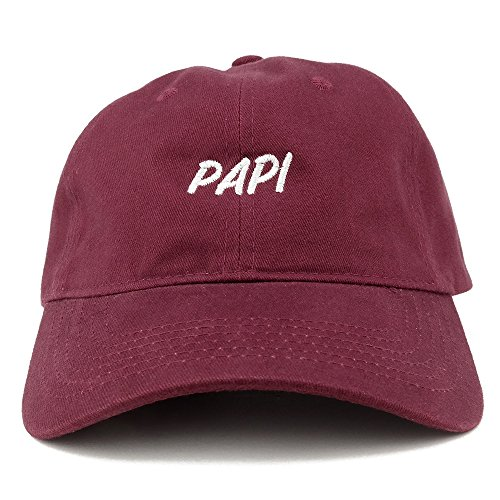 Papi Embroidered Dad Hat Adjustable Cotton Baseball Cap - Maroon