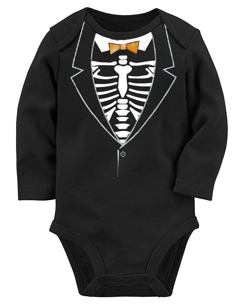 UNICOMIDEA Baby Boys Bodysuits Toddle Girls Romper Infant Halloween Fluorescence Onesie Short Sleeve Luminous Play Suits Funny Skeleton Outfits Baby Clothing for 3-6 Months