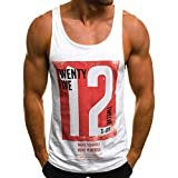 Men's Undershirts Casual Slim Shirts Tank Top Letter Printed Sleeveless T Shirt Blouse (L3, White)