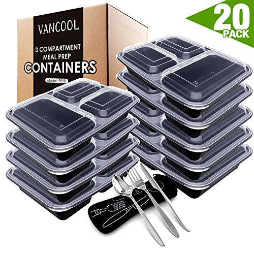 VANCOOL Meal Prep Containers 3 Compartment with Lids BPA Free Food Storage Bento Style Lunch Boxes for Portion Control ,Microwaveable/Reusable/Freezer & Dishwasher Safe, 20 Pack