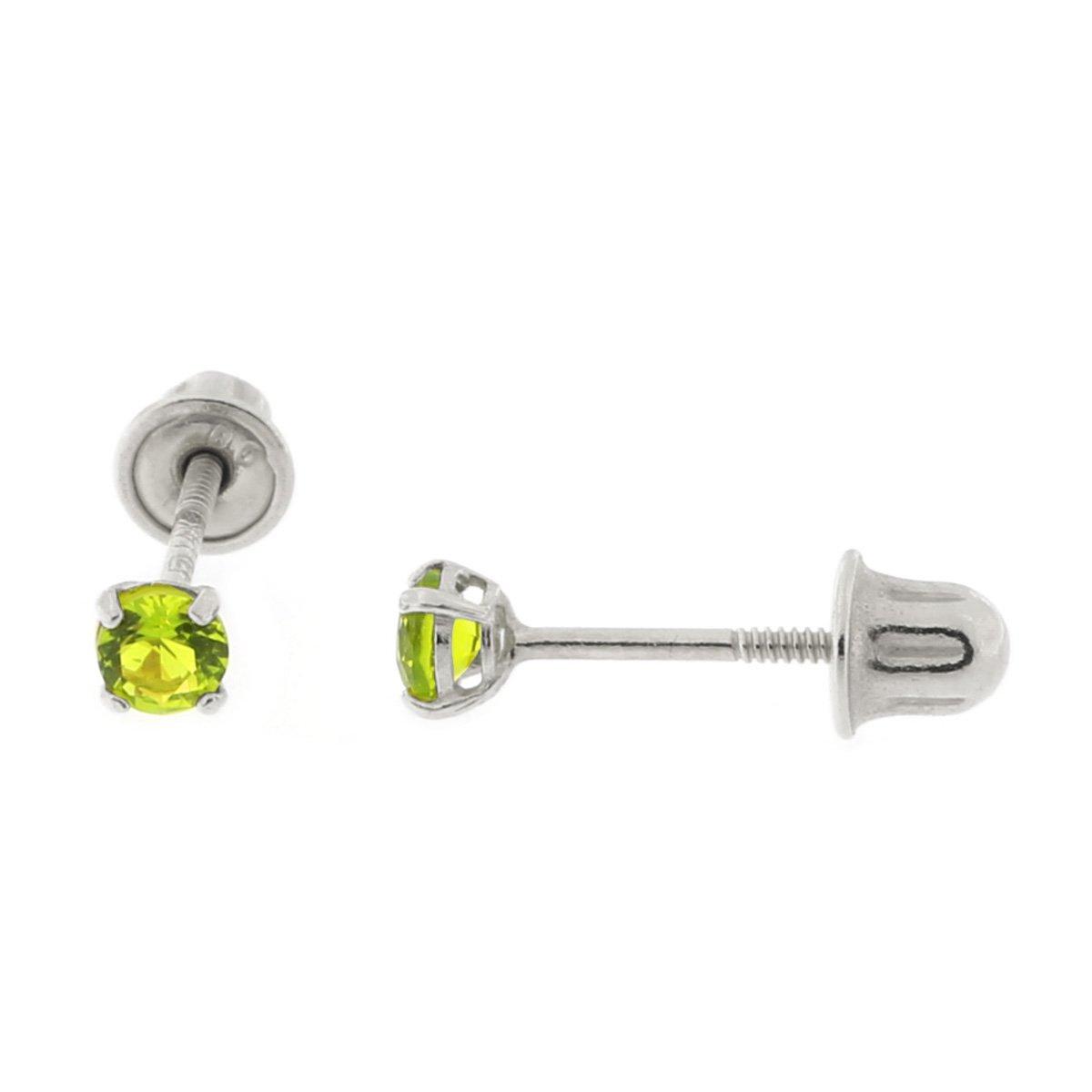 14k Yellow or White Gold Round Simulated Peridot Screwback Earrings
