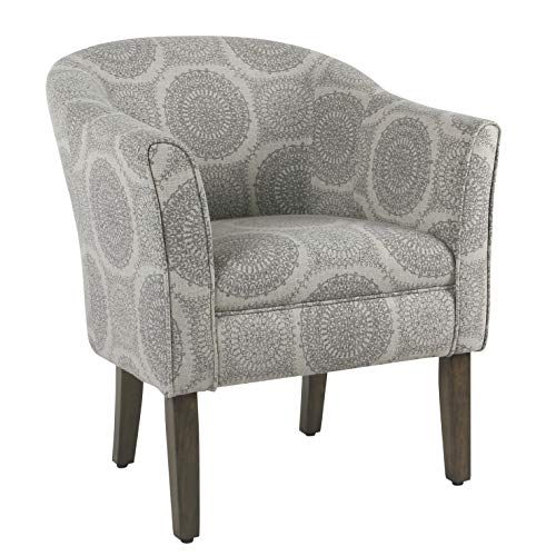 Square Barrel Chair - HomePop Barrel Shaped Accent Chair, Grey Medallion