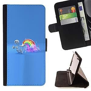 BullDog Case - FOR/Sony Xperia m55w Z3 Compact Mini / - / Rainbow Fart /- Monedero de cuero de la PU Llevar cubierta de la caja con el ID Credit Card Slots Flip funda de cuer