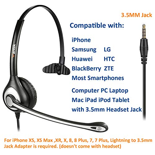 Wantek Wired Cell Phone Headset Mono with Noise Canceling Mic and Adjustable Fit Headband for iPhone Samsung Huawei HTC LG ZTE BlackBerry Mobile Phone and Smartphones with 3.5mm Jack(F600J35) 2