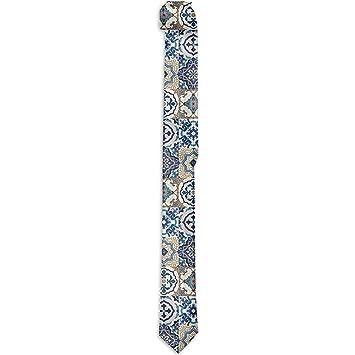 Corbata floral estampada para hombres, patrón de azulejos con ...