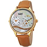 Burgi Swarovski Crystal Encrusted Women's Watch with Tan Skinny Leather Strap - Dual Time – Mother of Pearl Dial with Wave Setting Crystals – Japanese Quartz Analog – BUR184TN