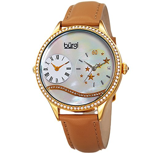 (Burgi Swarovski Crystal Encrusted Women's Watch with Tan Skinny Leather Strap - Dual Time - Mother of Pearl Dial with Wave Setting Crystals - Japanese Quartz Analog - BUR184TN)