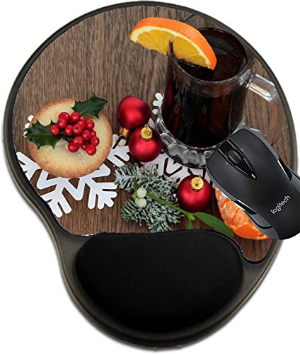 MSD Mousepad wrist protected Mouse Pads/Mat with wrist support Christmas mulled wine with mince pie red bauble decorations and winter flora over oak background Image 32273174 Customized Tablemats Sta