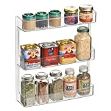 mDesign Wall Mount Kitchen Spice Organizer Rack for Herbs, Salt, Pepper, Cinnamon, Ginger, Garlic - 3-Tier, Clear