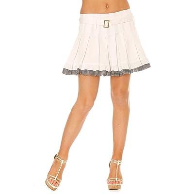 Miss Wear Line Jupe blanche plissée coupe patineuse jupon écossais, ceinture assortie