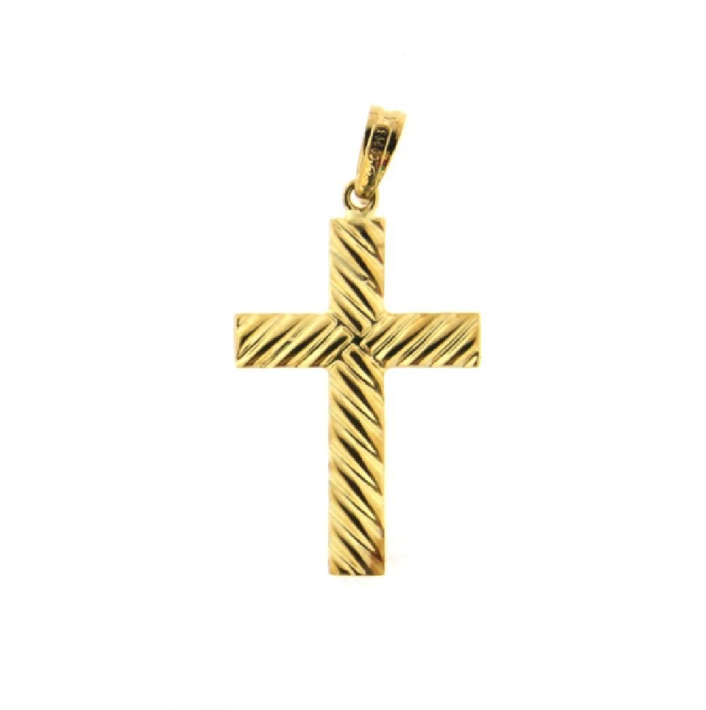 18K Yellow Twisted look cross 33 mm x 17 mm 1.3 x 0.67 inch
